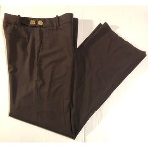 Tory Burch Brown Slacks with Gold Logos, Size 6